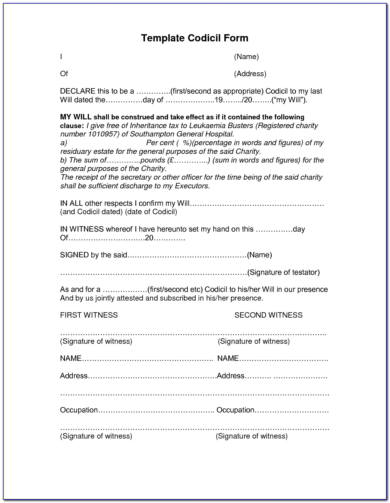 Printable Last Will And Testament Forms British Columbia