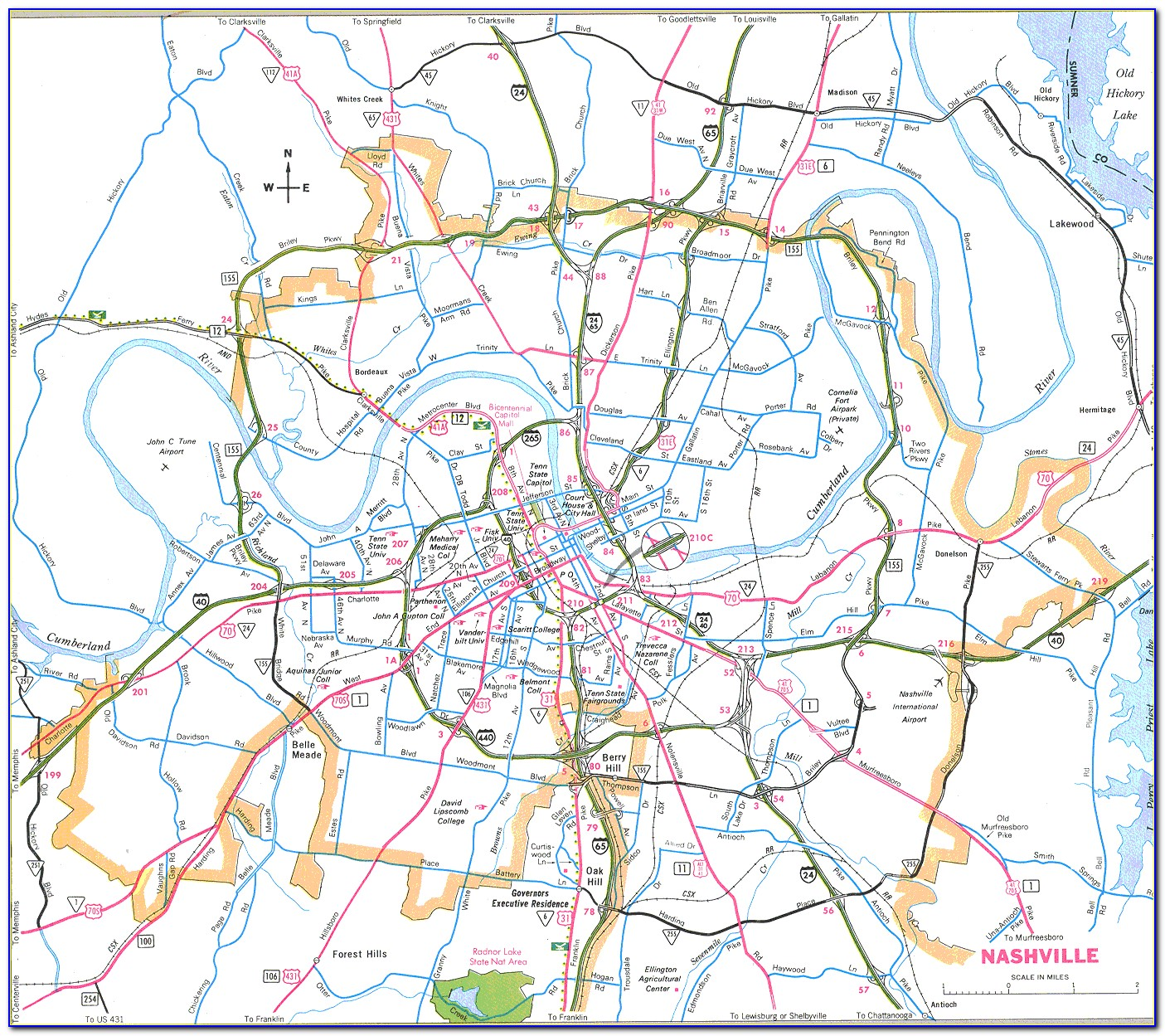 Printable Map Of Nashville Tn And Surrounding Areas