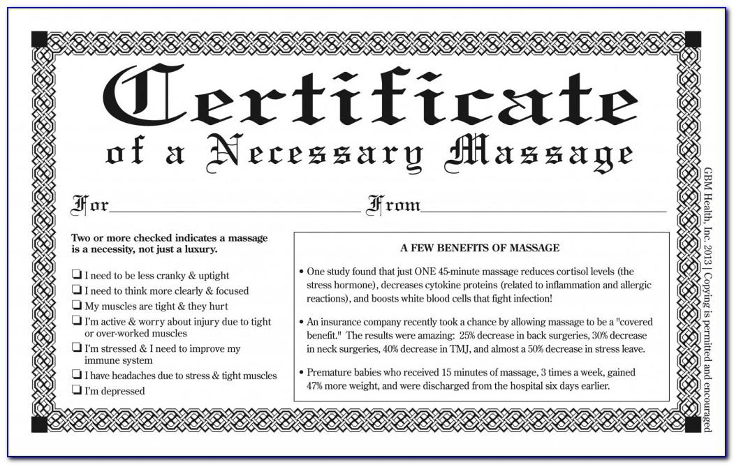 Printable Massage Gift Certificates Templates Free