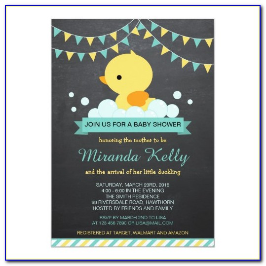 Printable Rubber Ducky Baby Shower Invitations