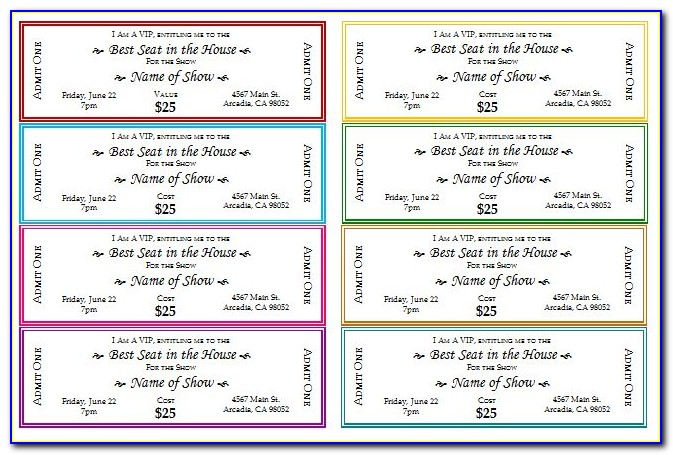 Printable Ticket Template Microsoft Office