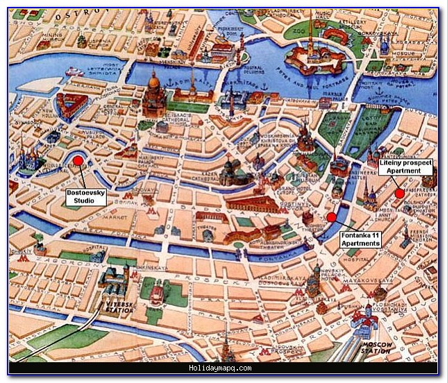 Printable Tourist Map Of St. Petersburg Russia