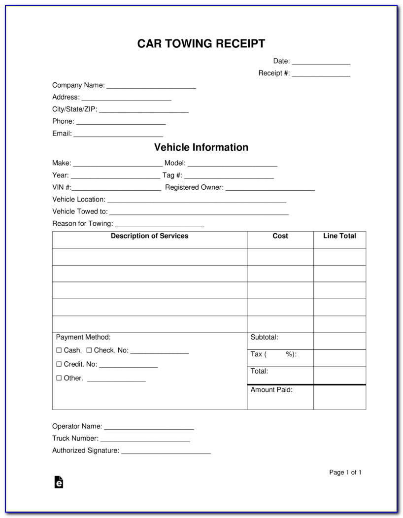 Printable Tow Truck Receipt Template