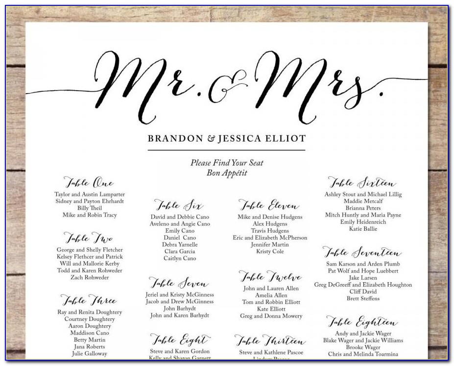 Printable Wedding Reception Seating Chart Template