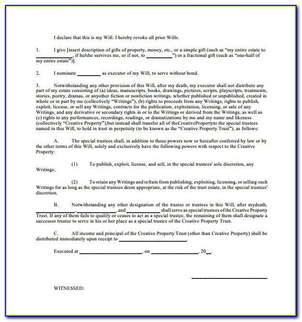 Sample Will Form – 13+ Free Samples, Examples, Format In Free Printable Wills