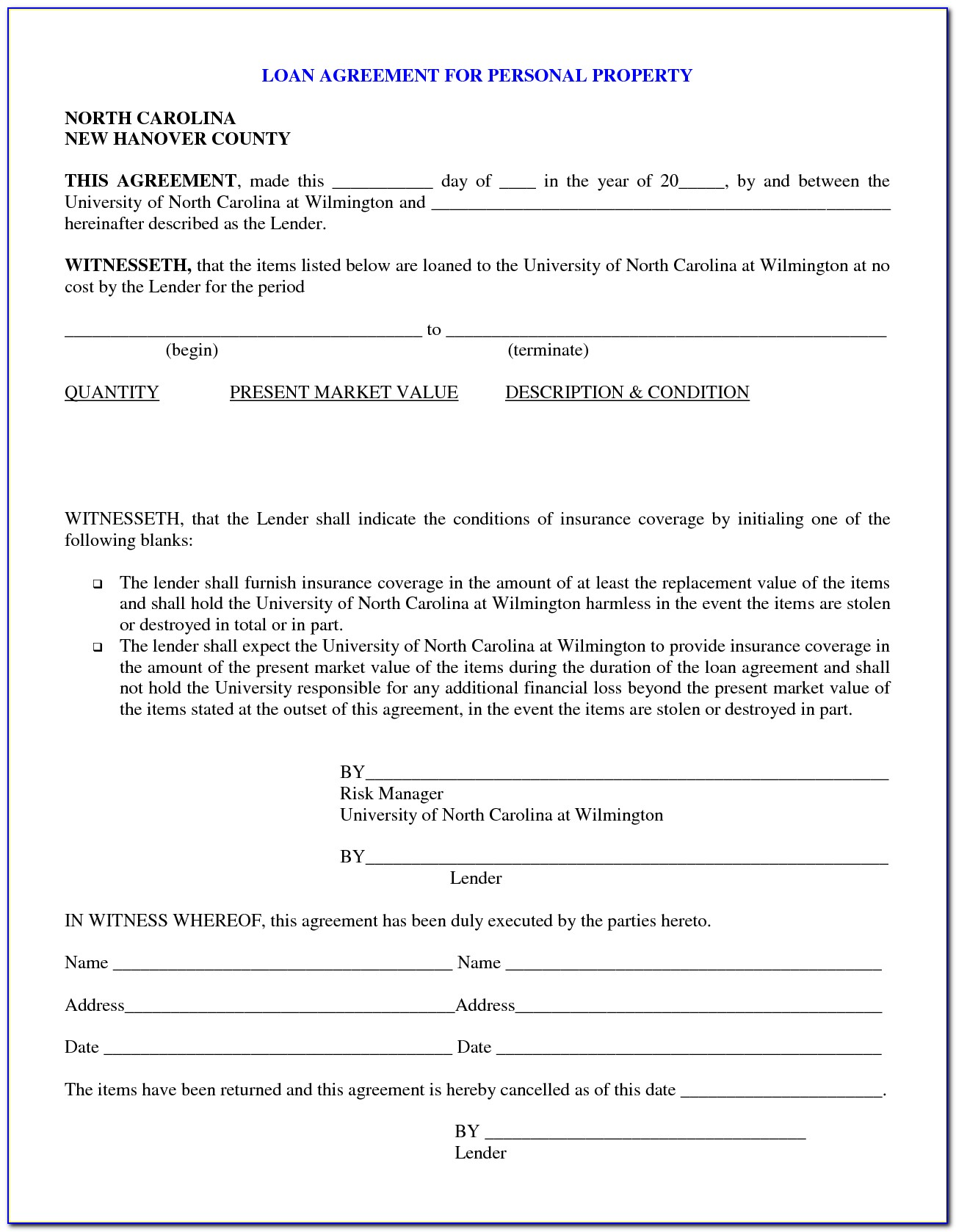 Private Loan Contract Forms