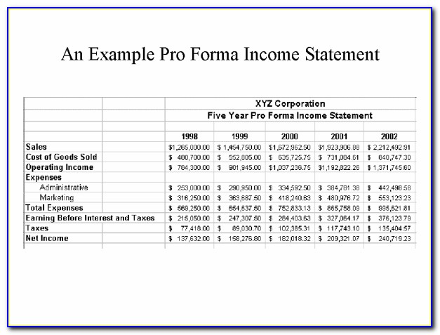 Pro Forma Income Statement Template Free