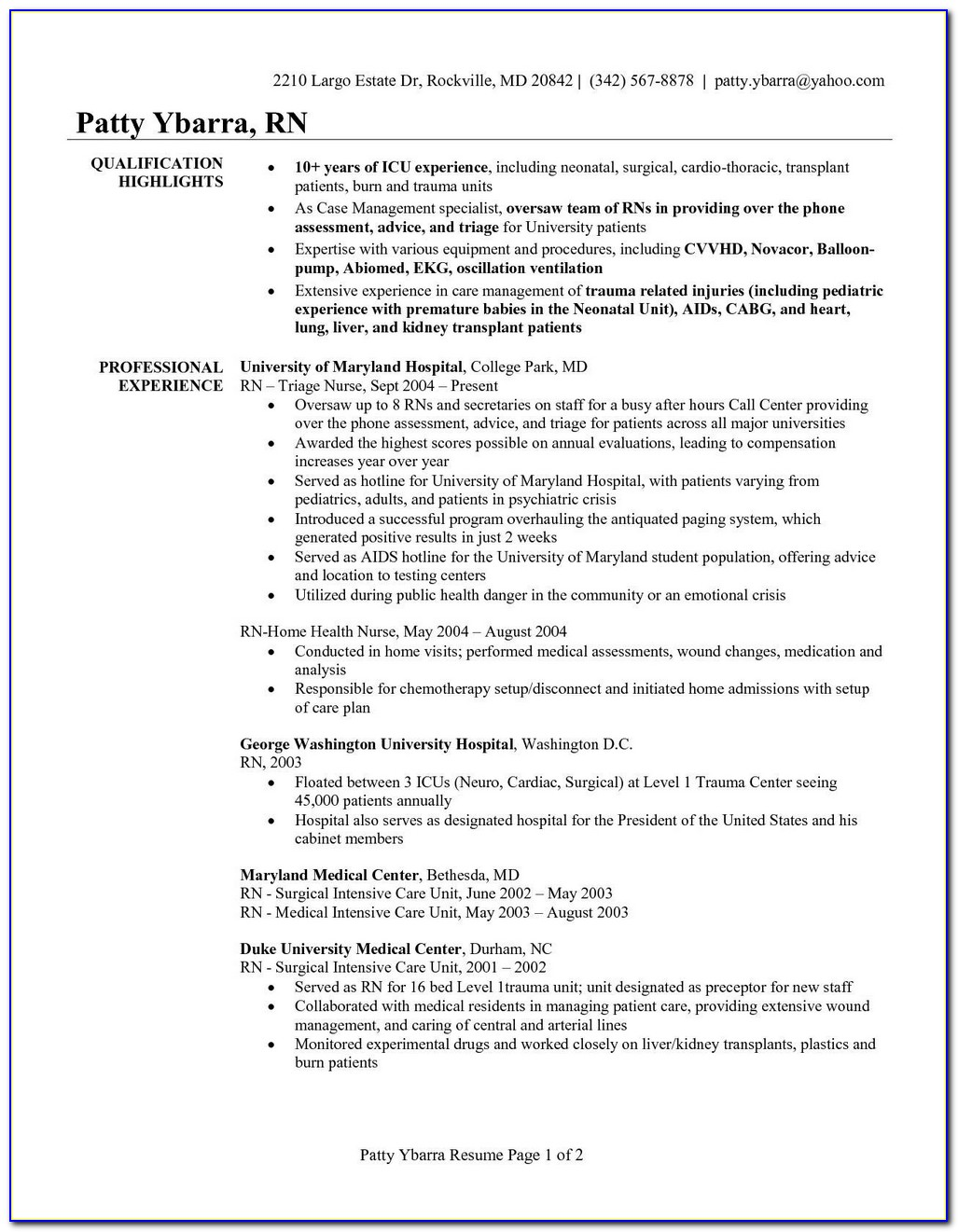 Professional Registered Nurse Resume Template