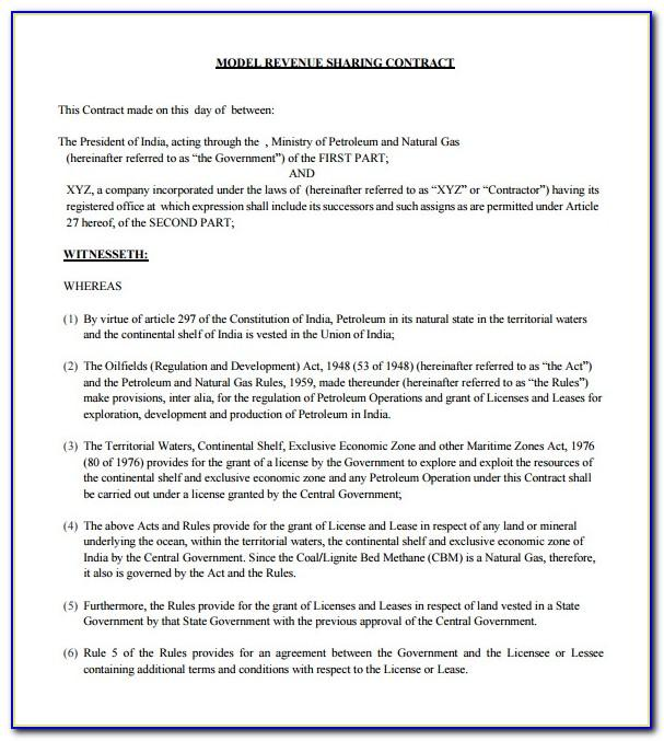 Profit Sharing Agreement Template Free Download