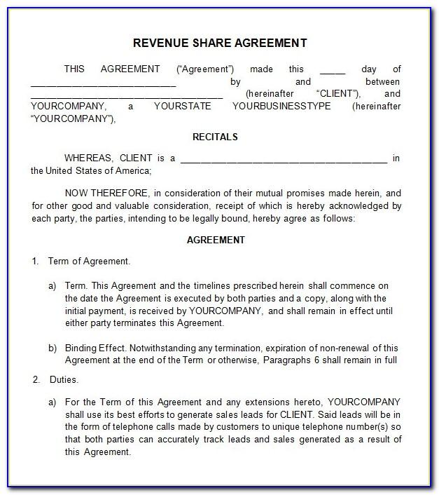 Profit Sharing Agreement Template Free