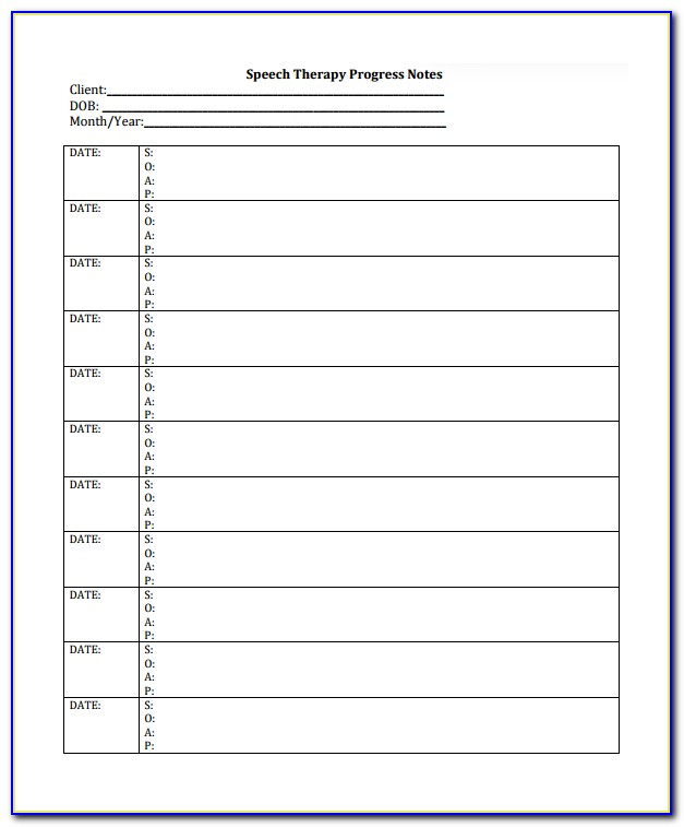 Progress Notes Template Psychotherapy