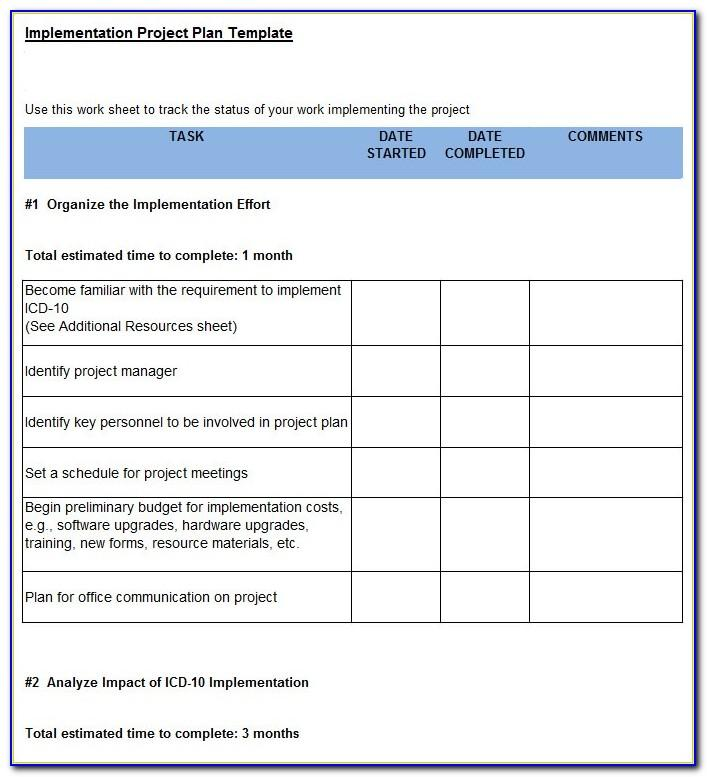 Project Implementation Planning Templates Excel