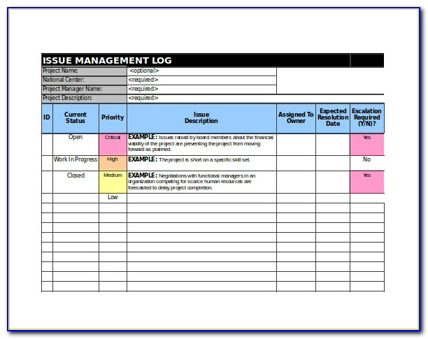 Project Issue Tracking Excel Template
