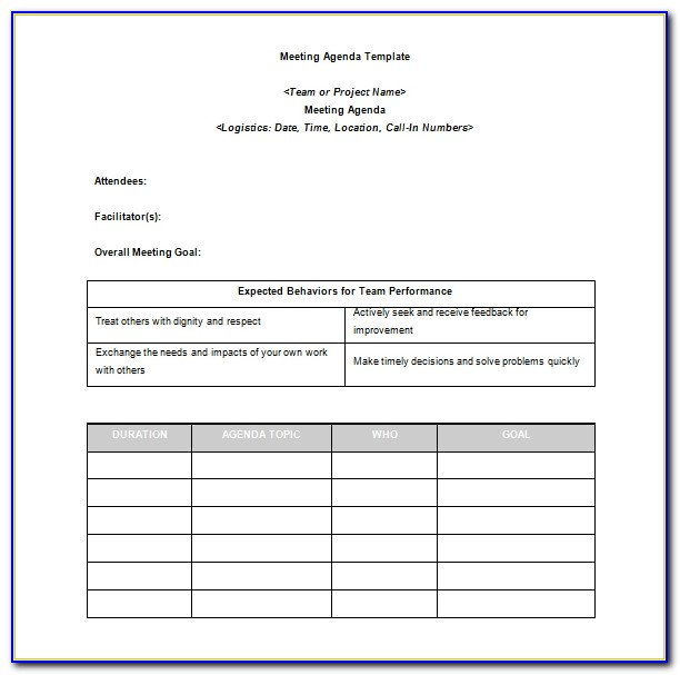 Project Management Meeting Agenda Template