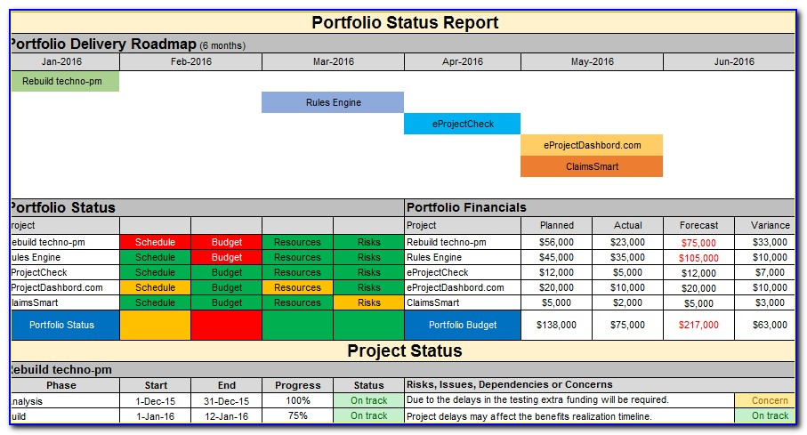 Project Portfolio Summary Excel Template