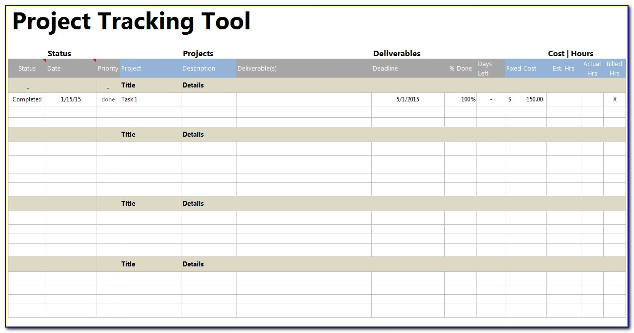 Project Task Tracking Template Excel