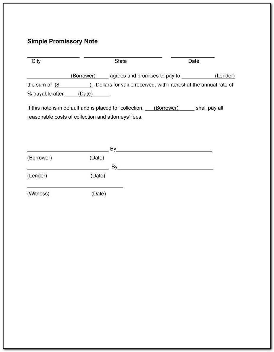 Promissory Note Personal Loan Template