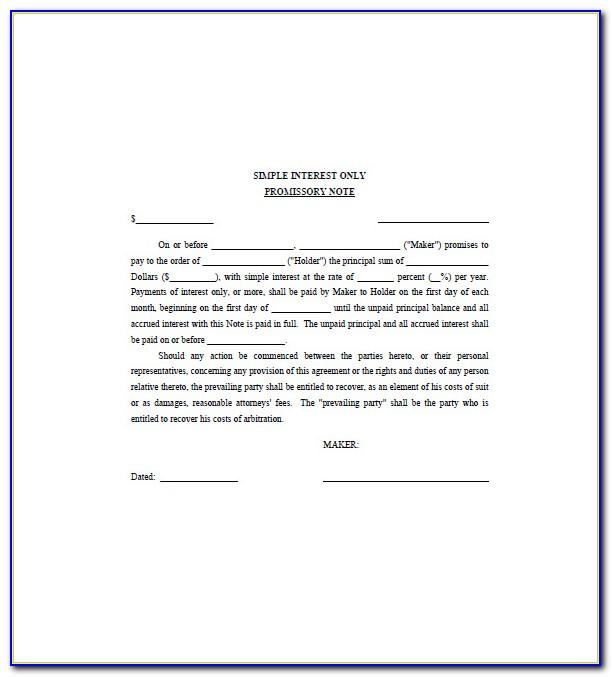 Promissory Note Sample For Personal Loan
