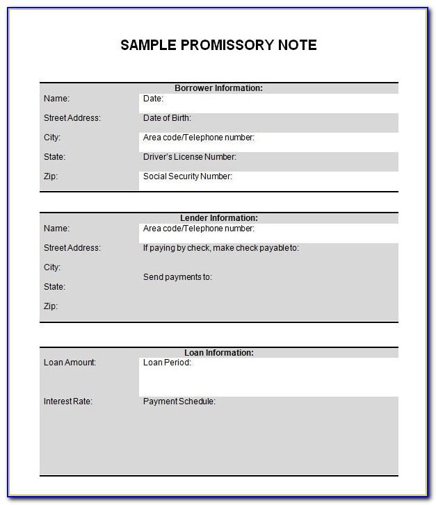 Promissory Note Template Word India