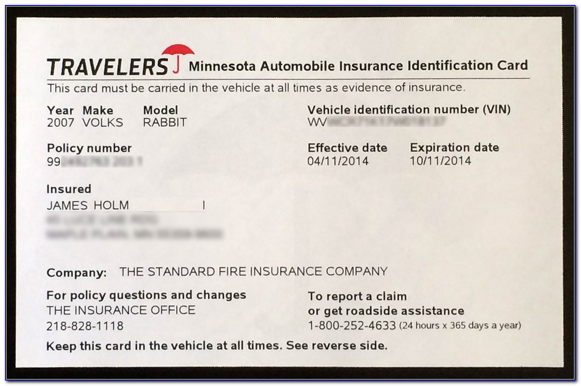 Proof Of Car Insurance Template
