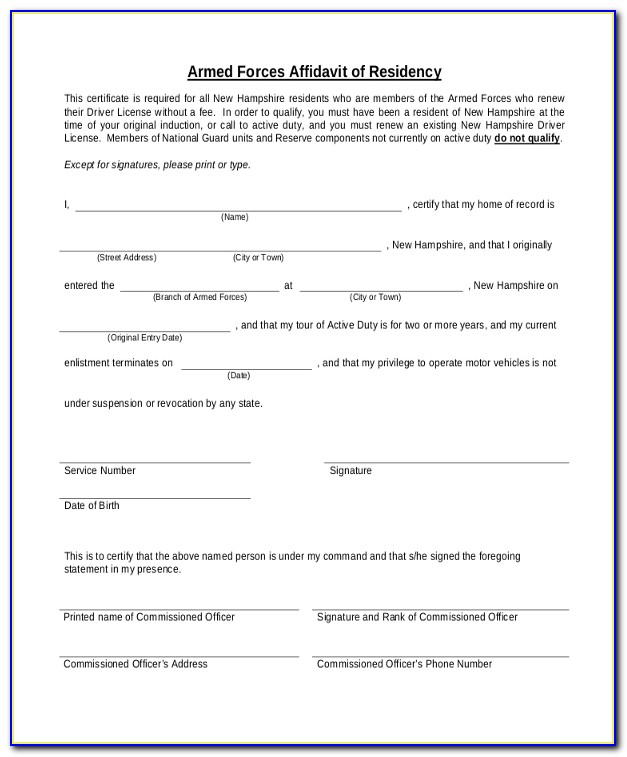 Proof Of Residence Affidavit Template South Africa