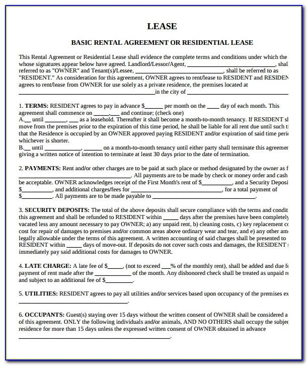 Property Lease Agreement Template Pdf
