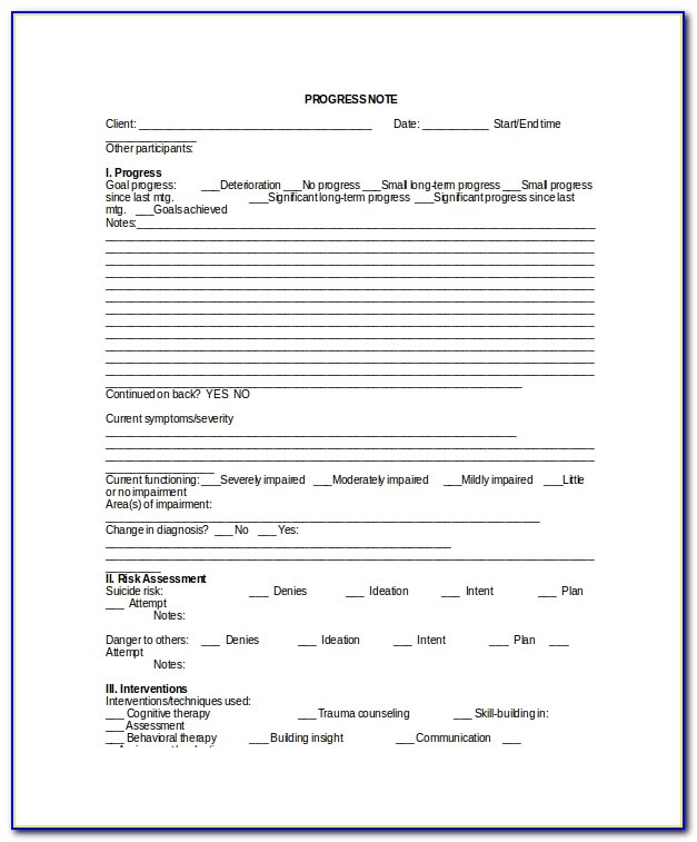 Psychotherapy Progress Note Template Word