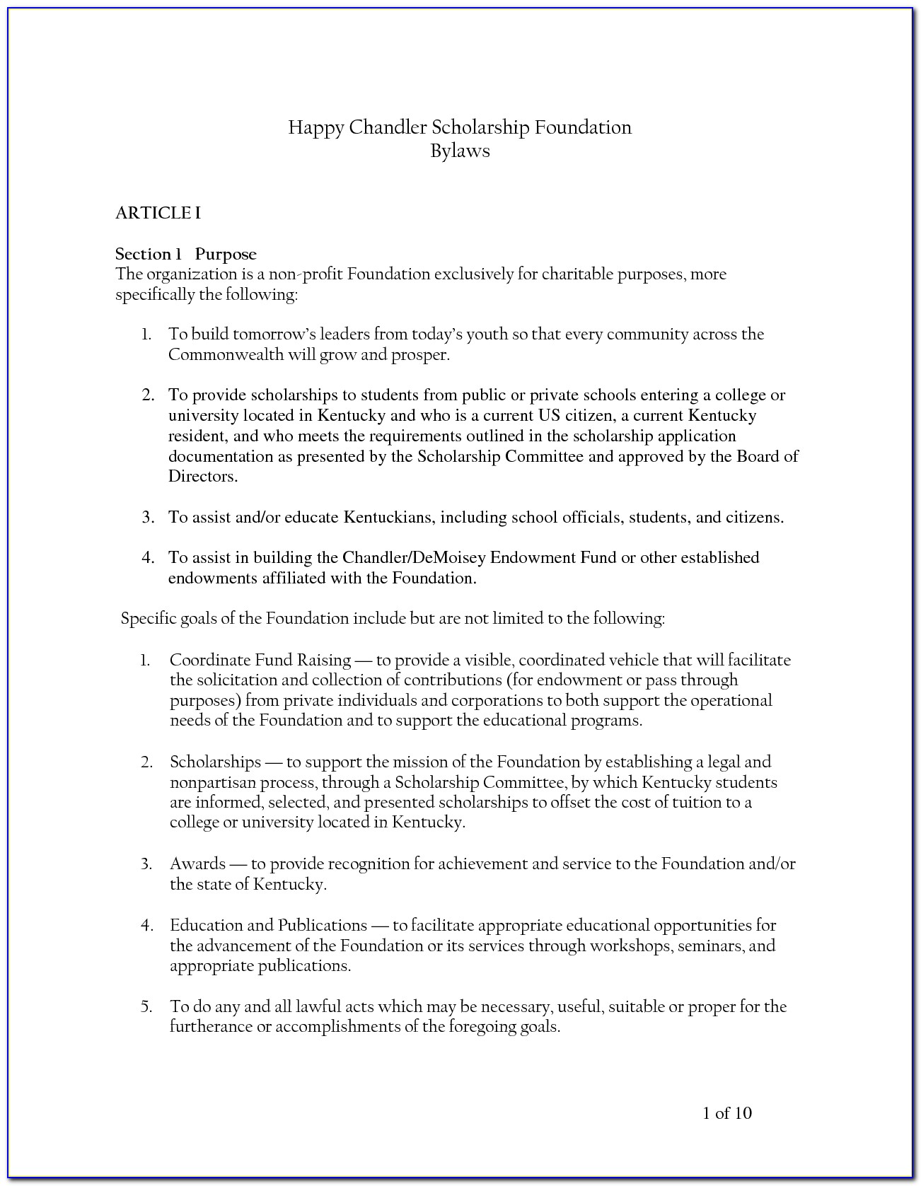 Pto Bylaws Examples
