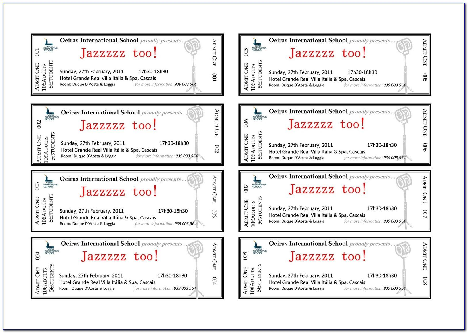Publisher Event Ticket Template
