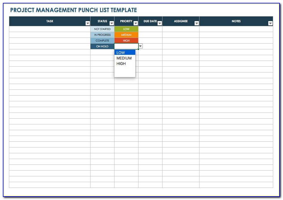 Punch List Template Word