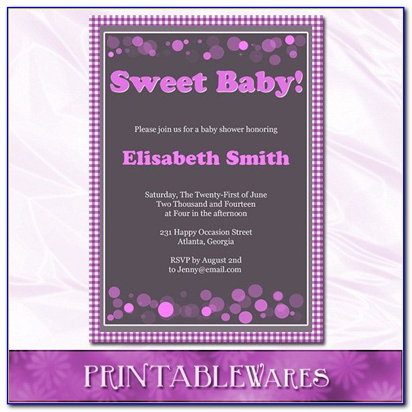 Purple And Teal Baby Shower Invitation Templates