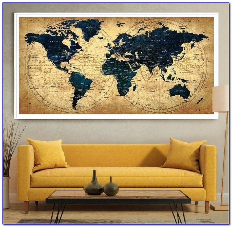 Zoom World Map Art Canvas Groupon Old Framed Wall Jurassic Uk Intended For Recent Groupon Wall Art