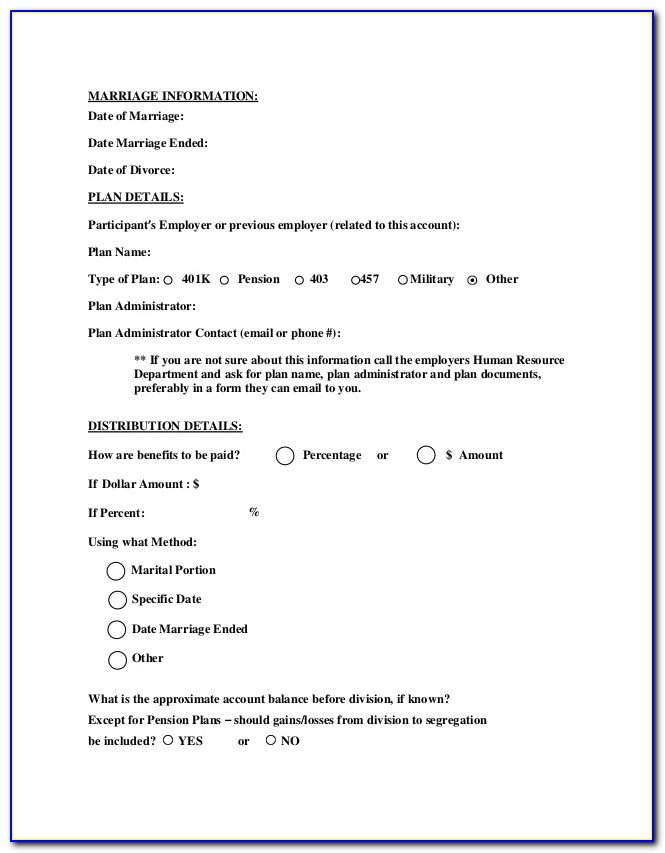 Qdro Military Pension Form
