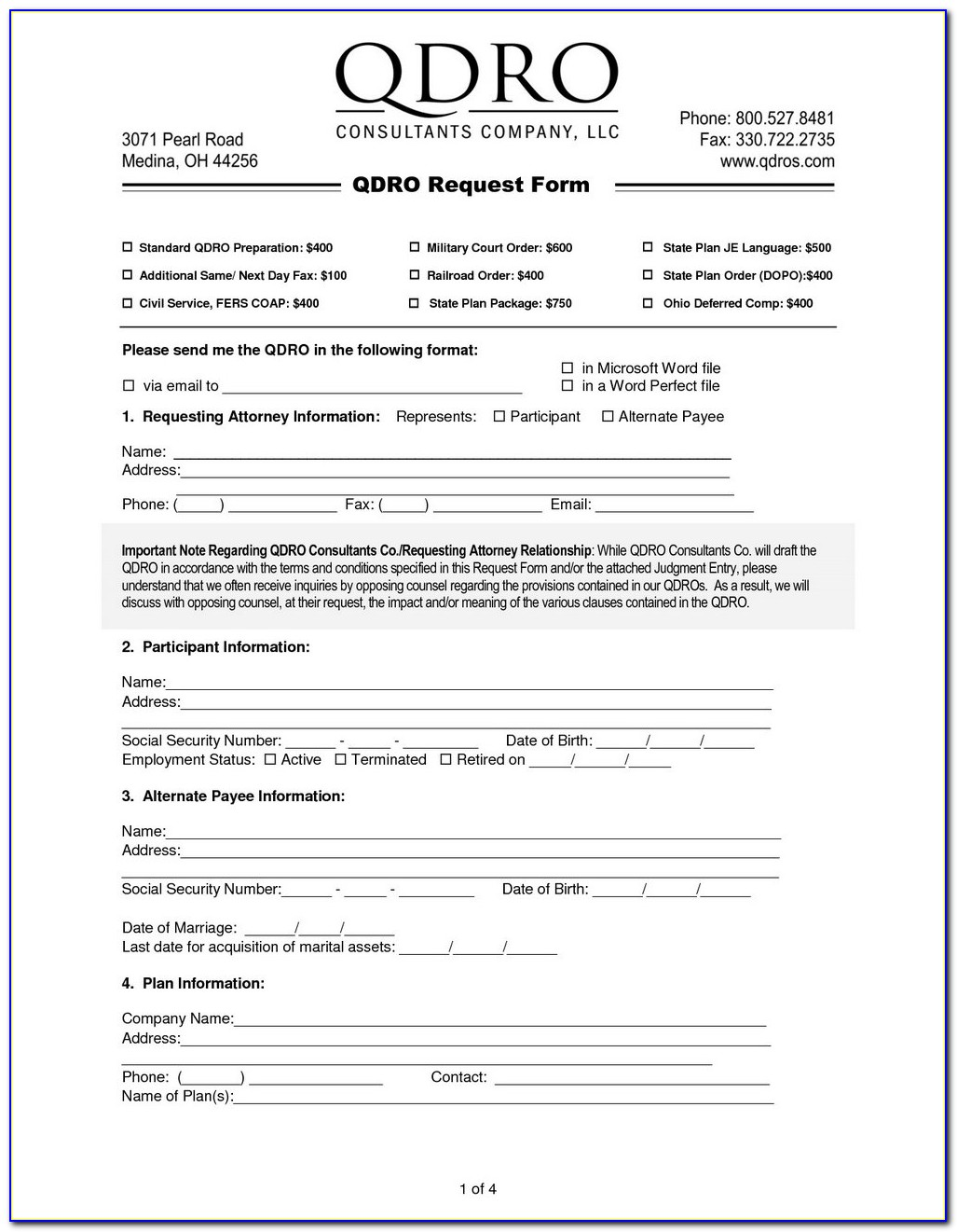 Qualified Domestic Relations Order Sample California