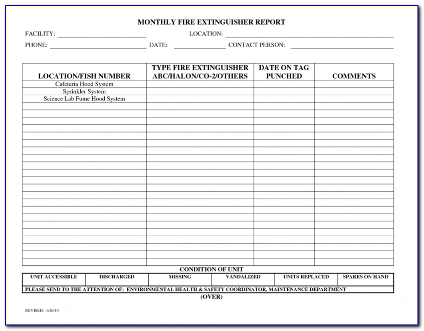 Fire Extinguisher Inspection Log Template – Nice Plastic Surgery For Fire Extinguisher Inspection Form