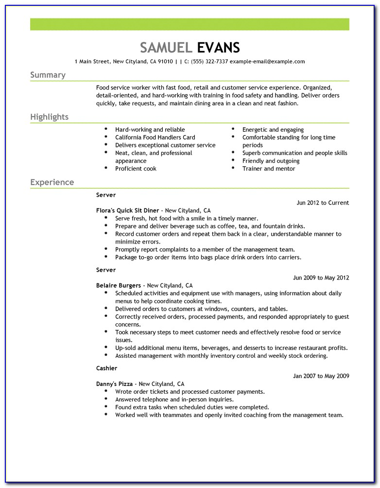 Quick Resume Template Free
