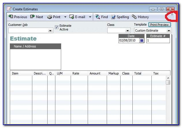 Quickbooks Desktop Estimate Templates