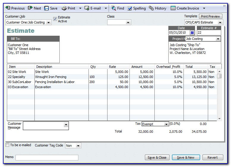 Quickbooks Edit Estimate Template