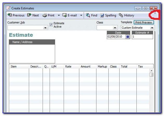Quickbooks Estimate Template Download