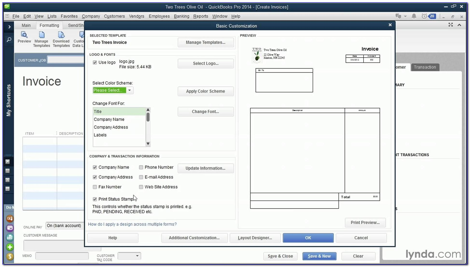 Quickbooks Invoice Template Change