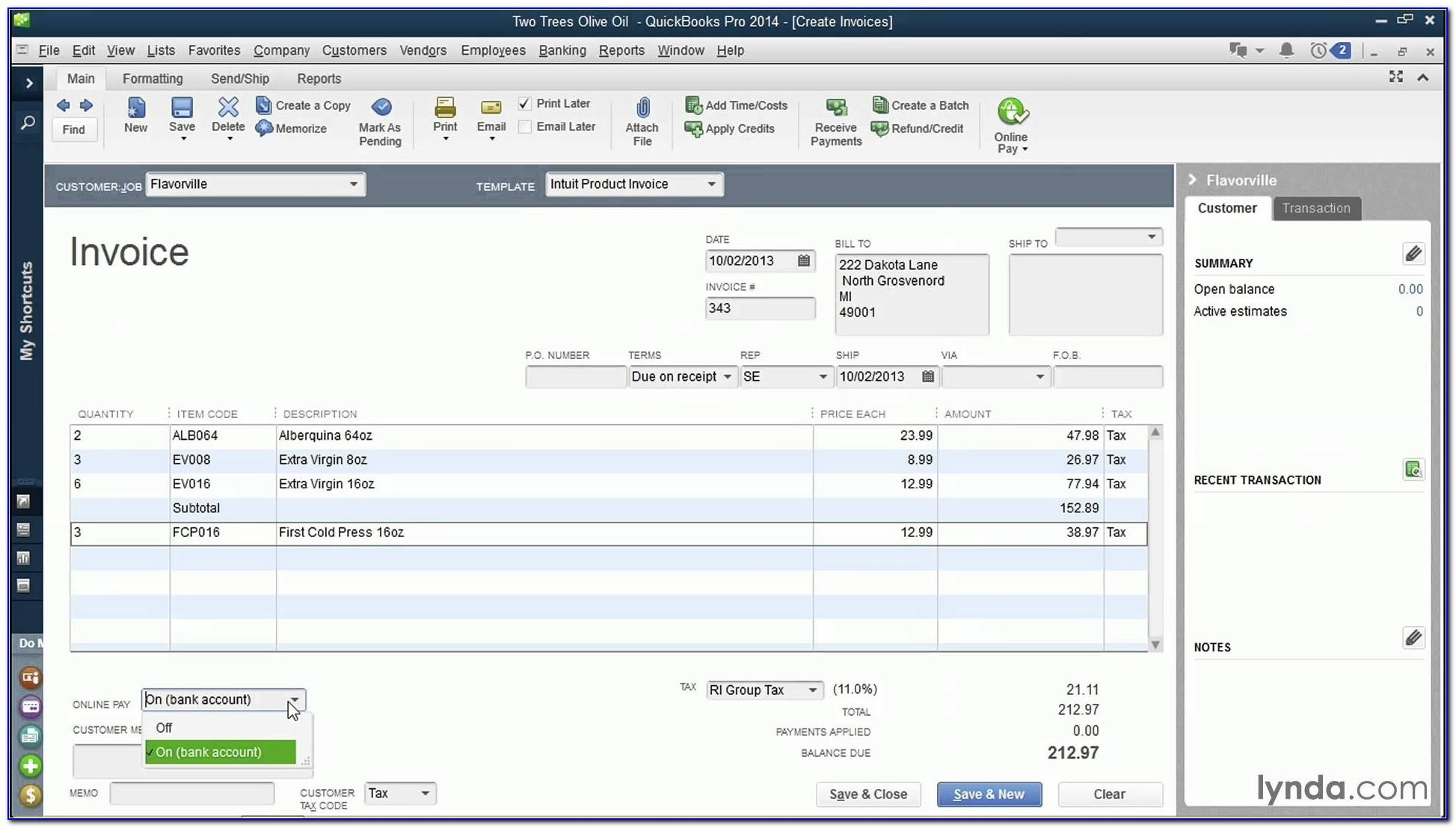 Quickbooks Invoice Template Word