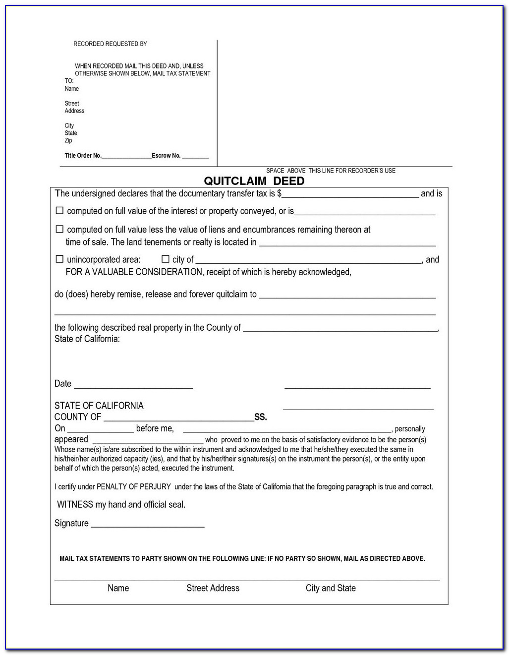 Quit Claim Deed Form Davidson County Tennessee