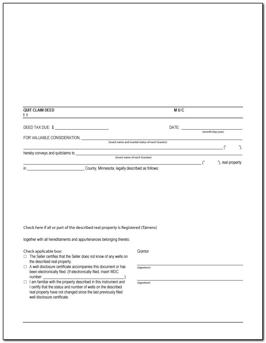 Quit Claim Deed Form Download