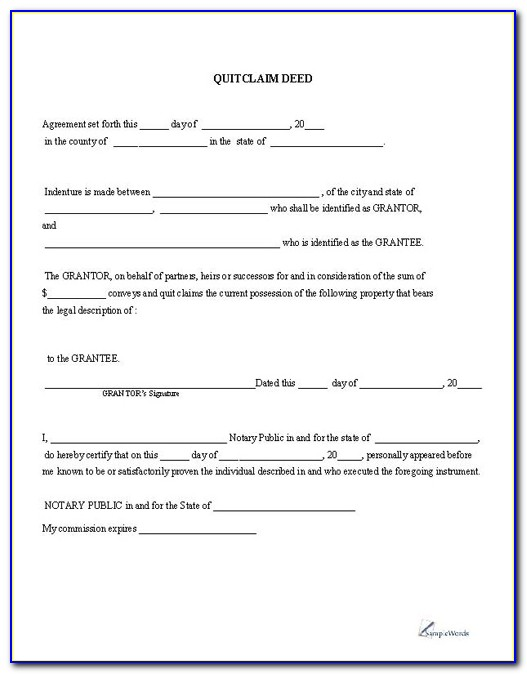 Printable Quitclaim Deed Free Printable Pdf Download Regarding Free Printable Quick Claim Deed Form