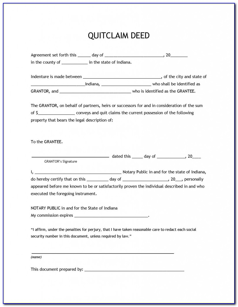 Quit Claim Deed Form Indiana