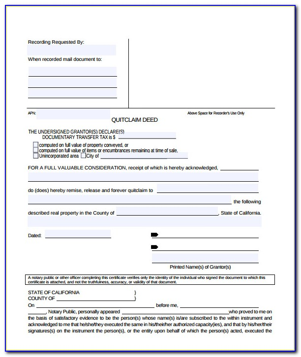 Quit Claim Deed Form Lake County Indiana