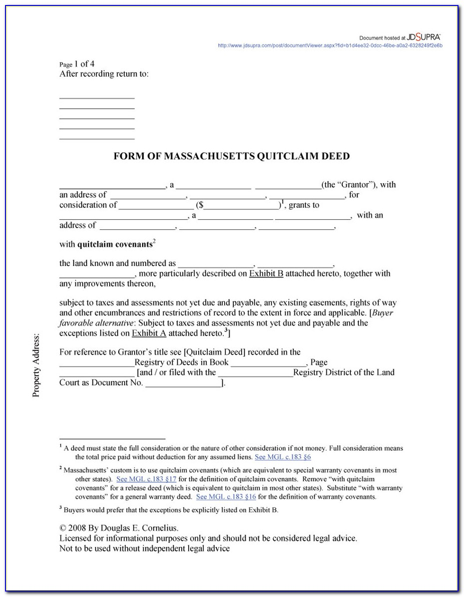 Quit Claim Deed Form Michigan Example