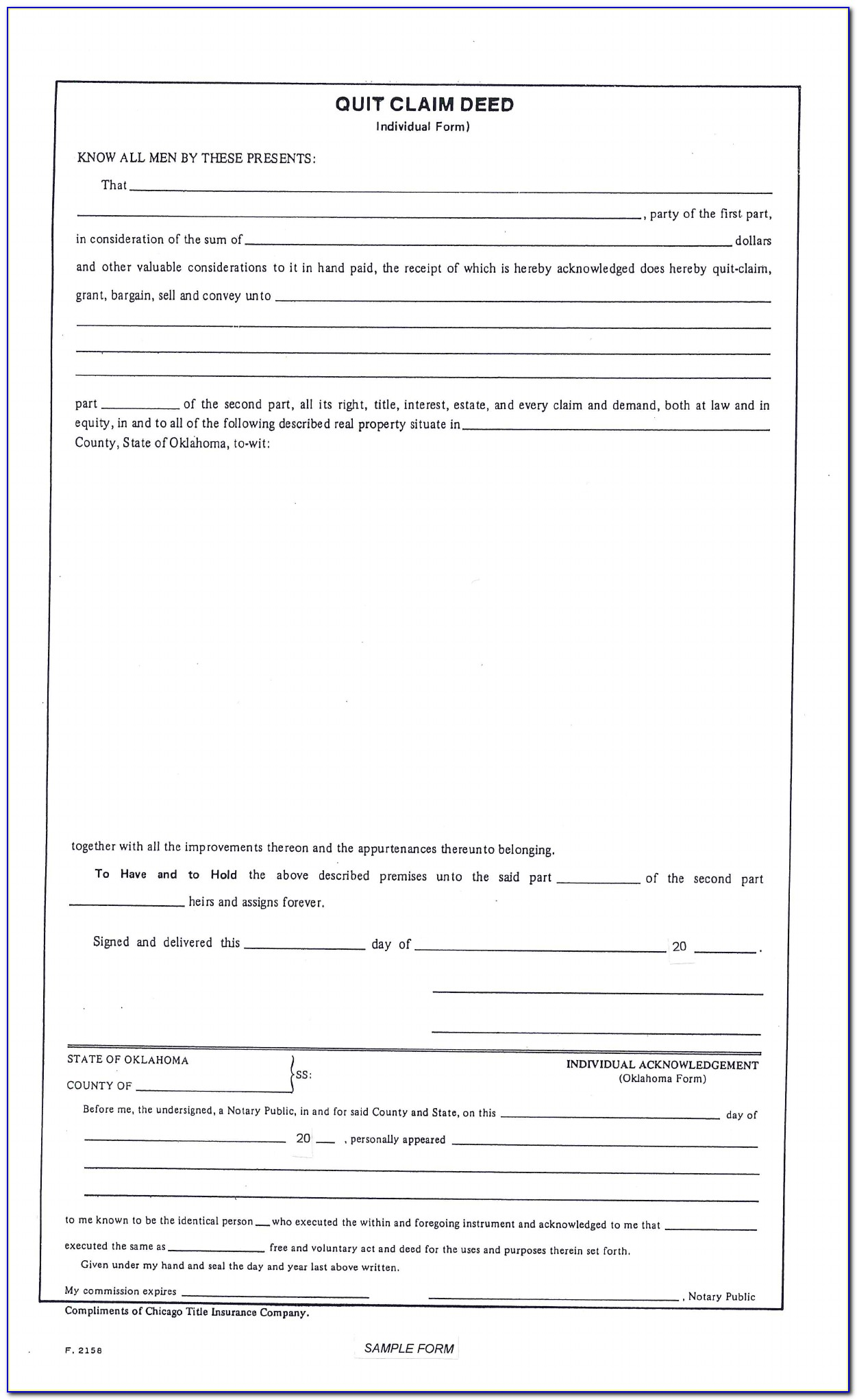 Quit Claim Deed Form Oklahoma County