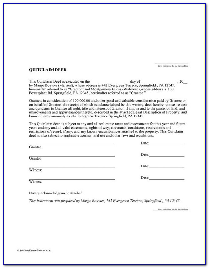 Quit Claim Deed Form Pasco Florida