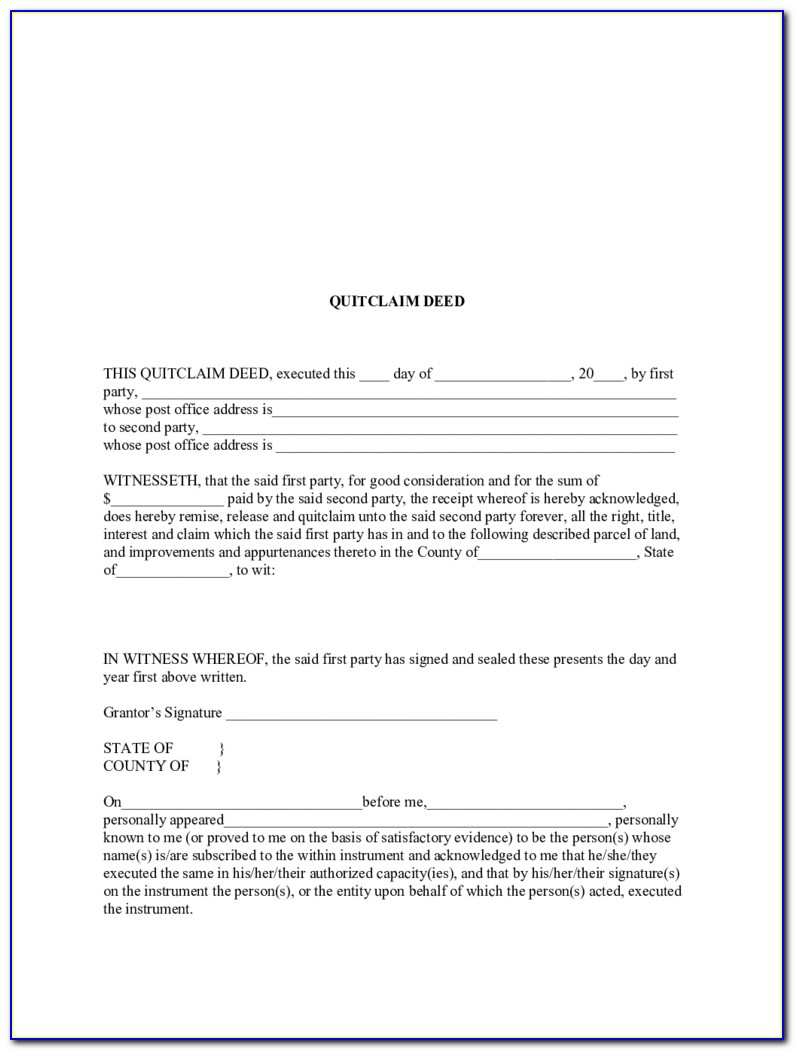 Quit Claim Deed Form Sample Words